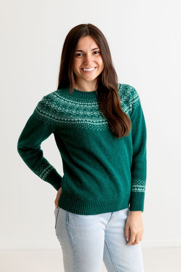 ladies green wool fair isle jumper sweater aviemore yoke emerald