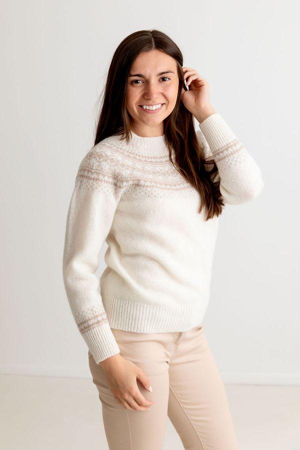 ladies ivory wool fair isle jumper sweater winter white beige aviemore yoke