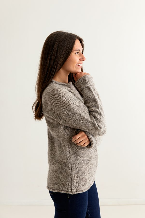 ladies undyed chunky wool jumper sweater cuffed natural beige side