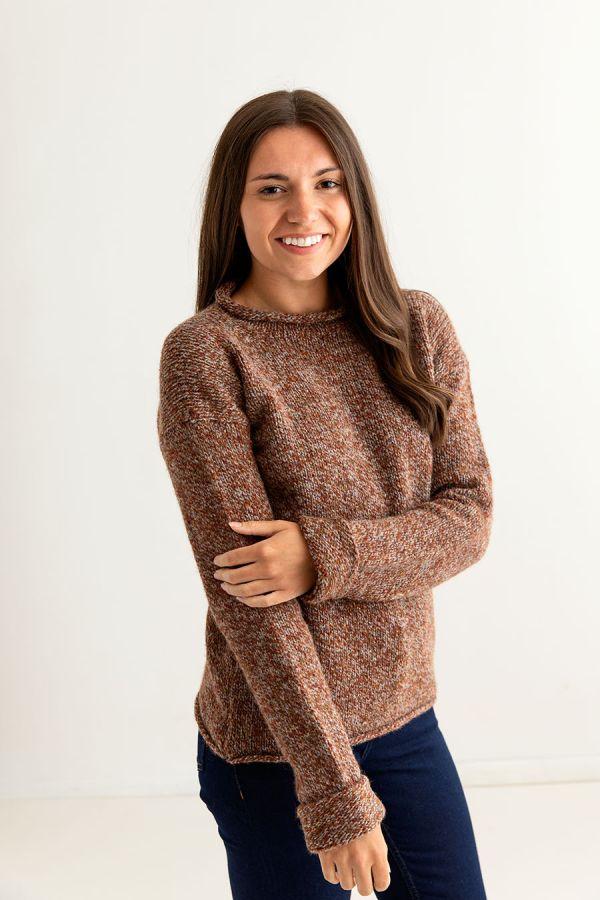 ladies rust chunky wool jumper sweater autumn cuffed side