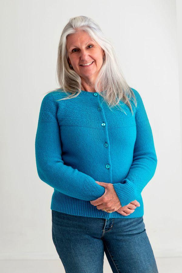 ladies gansey cardigan turquoise wool