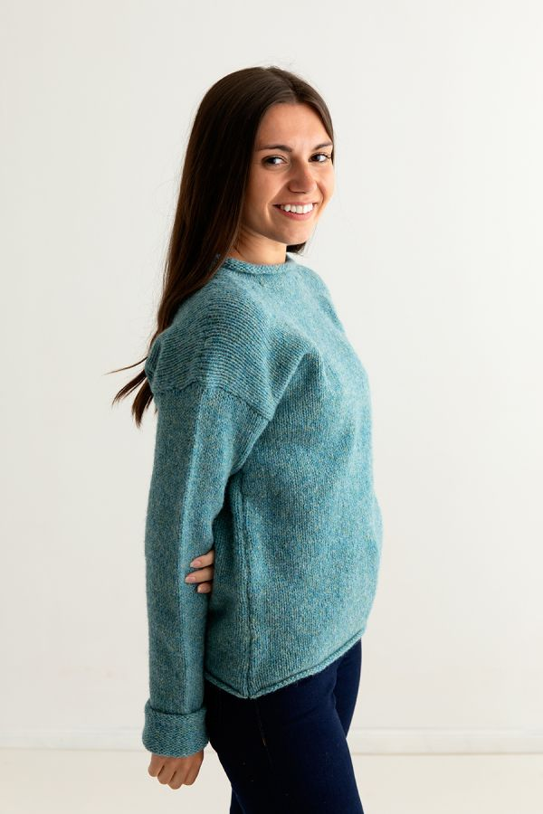 ladies chunky wool jumper sweater light teal side