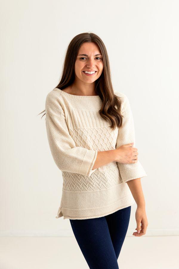 ladies gansey guernsey jumper sweater almond fine geelong lambs wool side