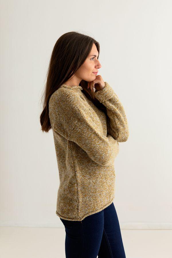 ladies mustard chunky wool jumper sweater ochre yellow cuffed side
