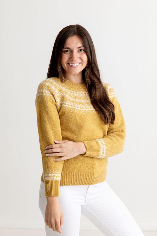 ladies yellow fair isle jumper sweater shetland wool aviemore yoke