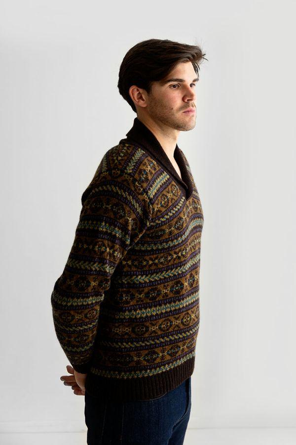 Mens fair isle jumper sweater shawl collar wool brown Lerwick