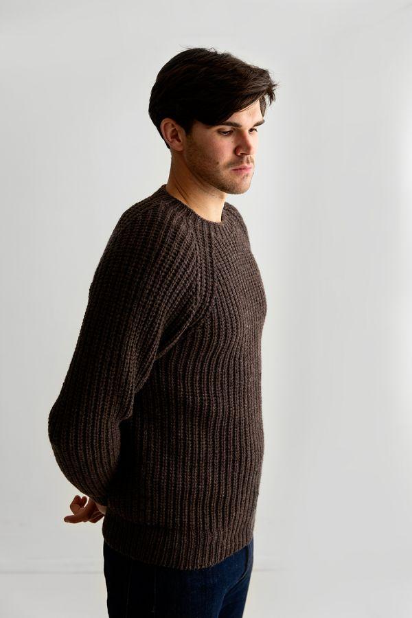 mens fisherman rib jumper sweater brown lambs wool geelong