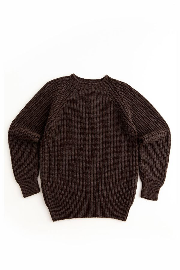 mens brown fisherman rib jumper sweater soft lambs wool geelong