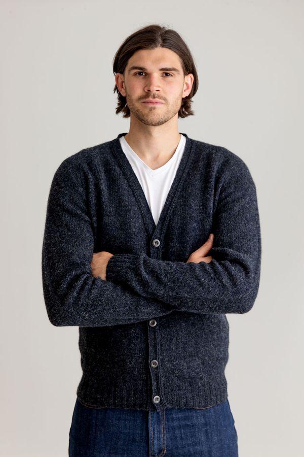 mens cardigan charcoal grey shetland wool v vee neck corozo button