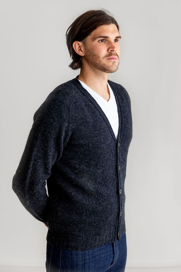 mens cardigan sweater charcoal grey button v vee neck