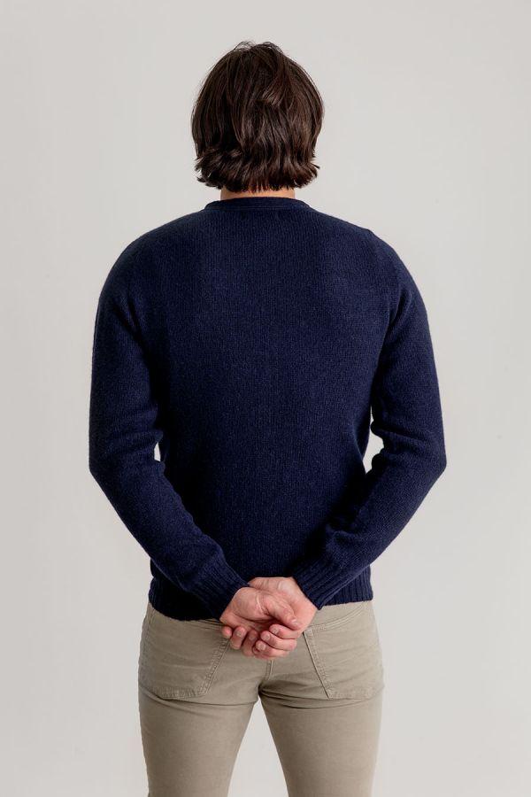 mens cardigan v vee neck navy blue shetland wool