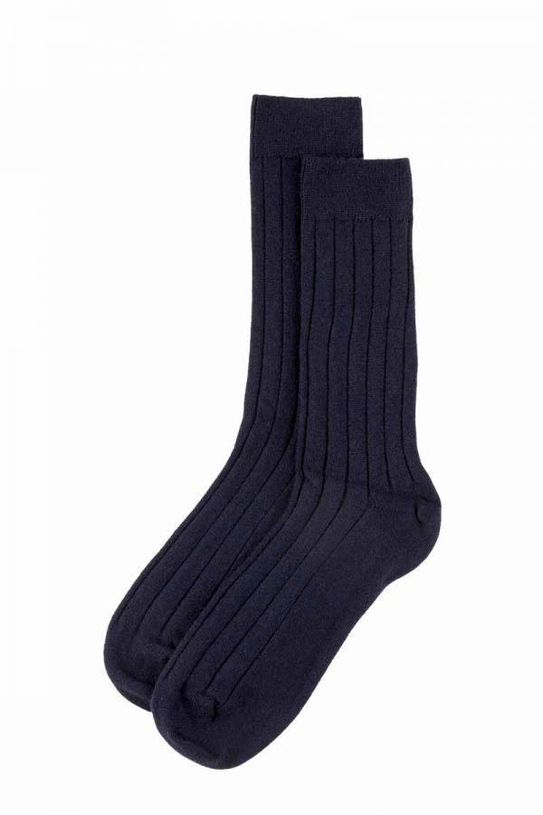 Mens Scottish Cashmere Socks. Navy blue