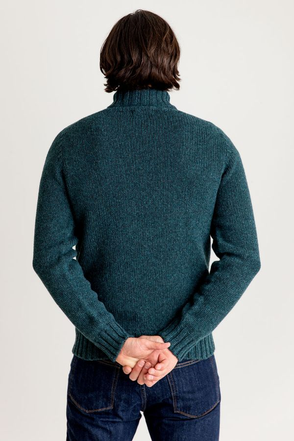 mens chunky geelong polo neck jumper teal lambs wool sweater