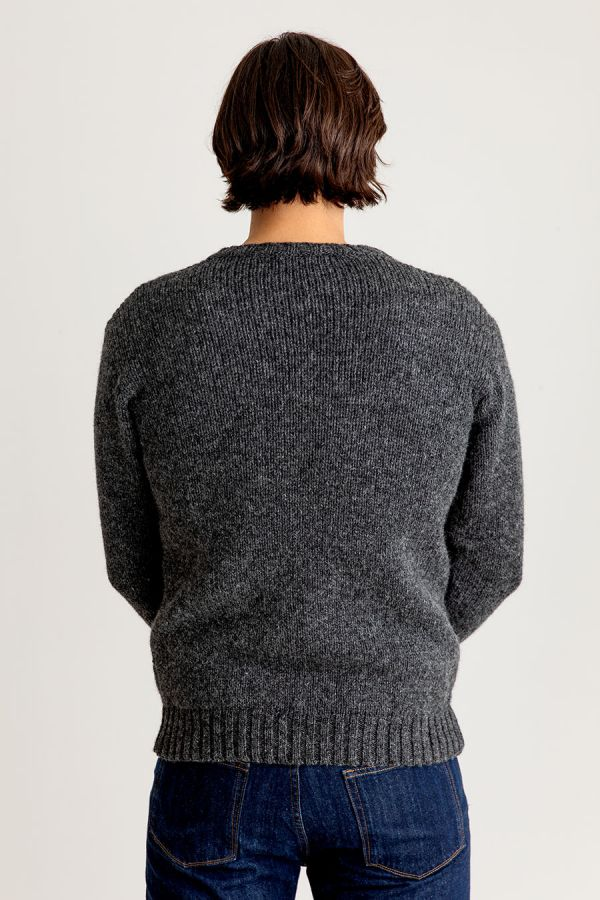 mens chunky wool crew neck jumper sweater mid grey gray