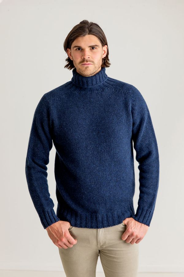 mens chunky wool navy blue lambs wool polo neck jumper turtle sweater