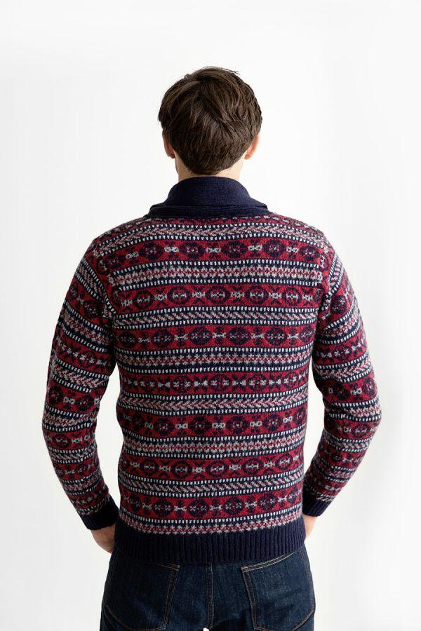 Mens navy blue red wool fair isle shawl collar jumper sweater