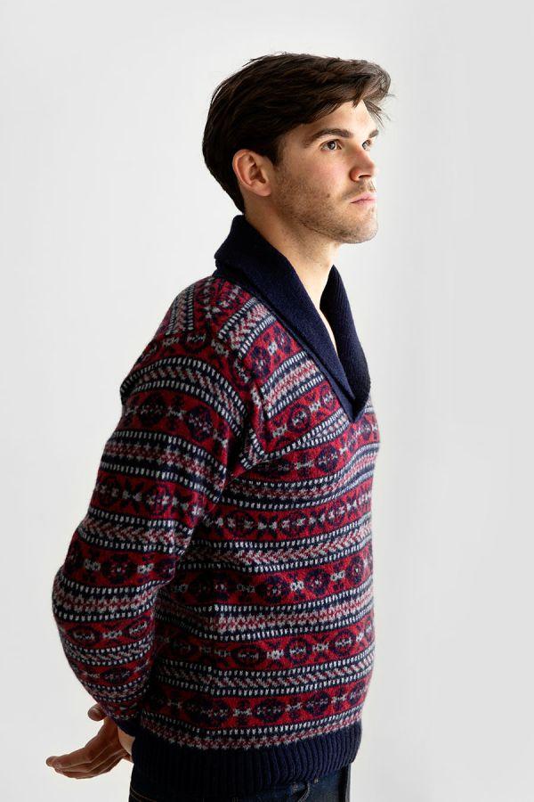 mens fair isle jumper shawl collar sweater blue red wool Lerwick