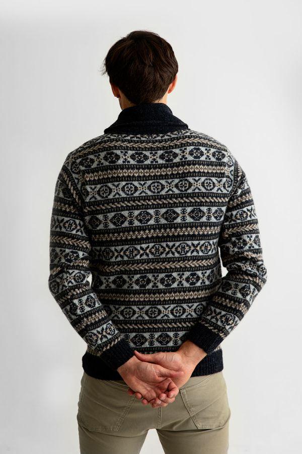 mens fair isle shawl collar jumper grey Lerwick