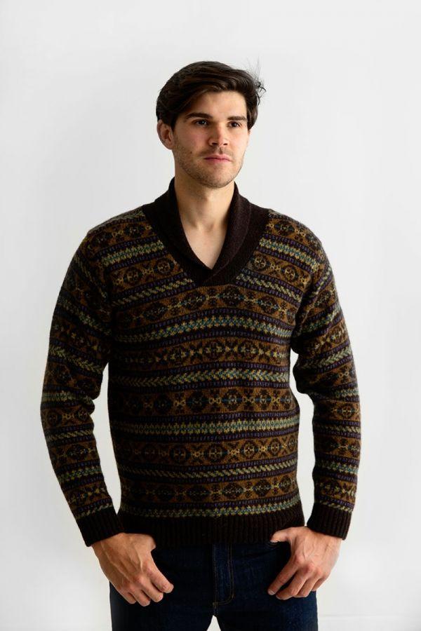 Mens fair isle jumper sweater shawl collar brown Lerwick