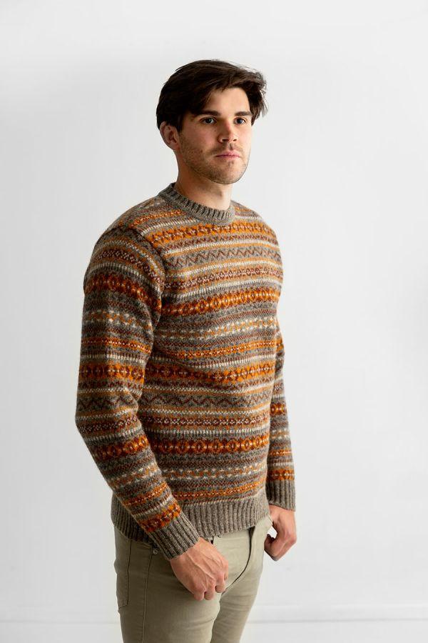 Mens fair isle shetland wool jumper sweater orange brown oyster kinnaird
