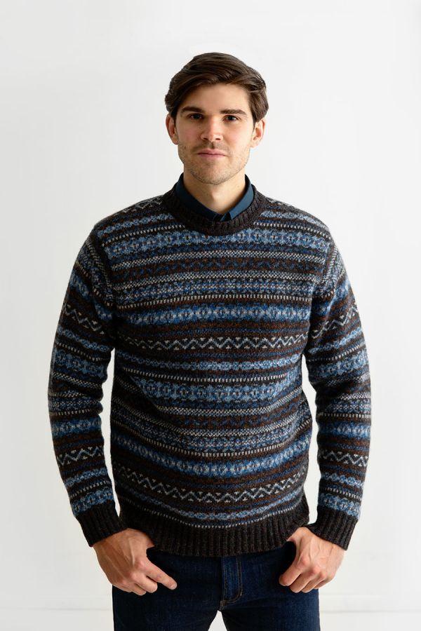 mens fair isle wool jumper sweater blue brown kinnaird