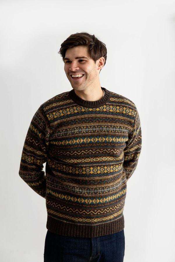 mens wool fair isle jumper sweater olive brown yellow teal kinnaird.jpg