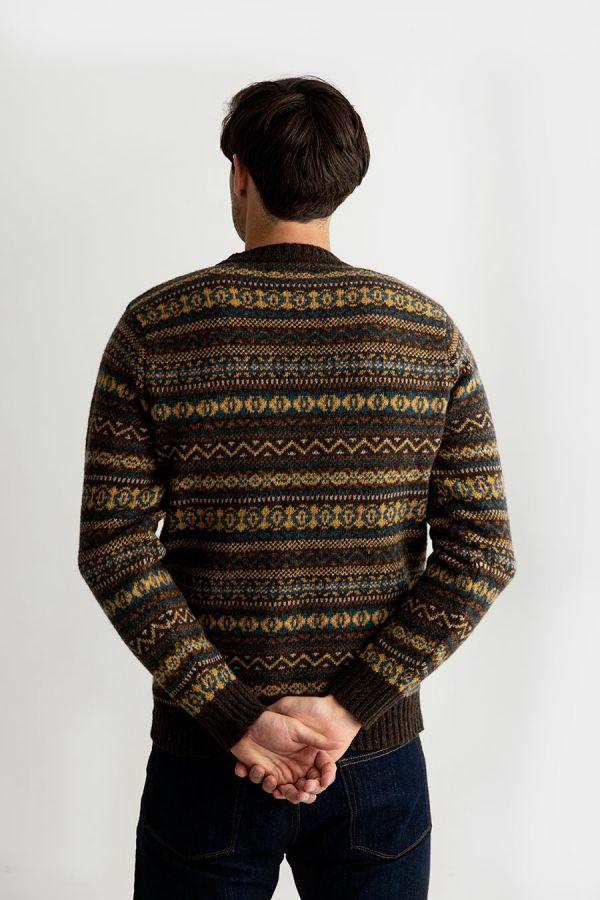 mens fair isle jumper sweater wool brown yellow teal kinnaird back