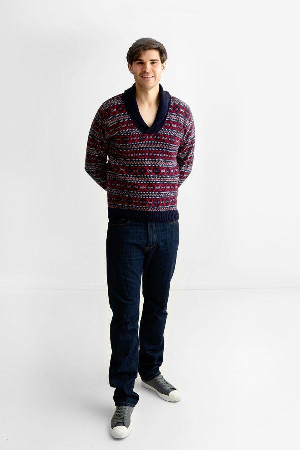 Mens fair isle sweater shawl collar jumper blue red wool Lerwick