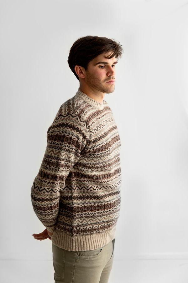 Mens fair isle jumper sweater shetland wool beige brown oatmilk kinnaird
