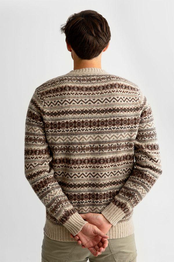 Mens fair isle wool jumper sweater beige brown oatmilk kinnaird back