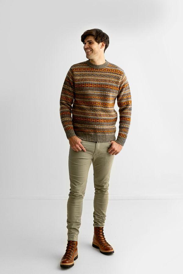 Mens fair isle wool jumper sweater orange brown kinnaird