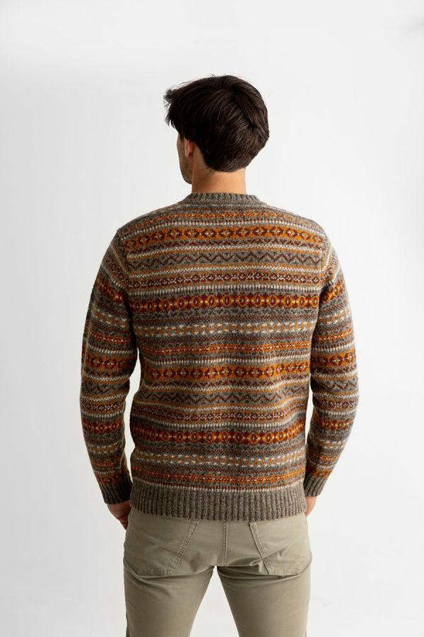 Mens fair isle wool jumper sweater orange brown kinnaird back