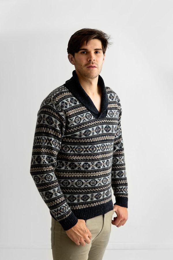 Mens fair isle wool jumper shawl collar sweater charcoal grey Lerwick
