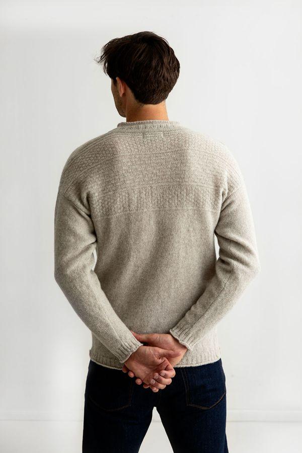 Mens gansey jumper guernsey sweater beige putty breakwater