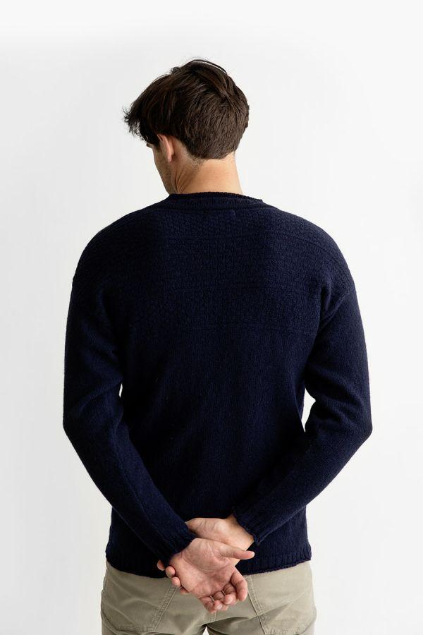 Mens gansey jumper guernsey sweater navy blue shetland wool