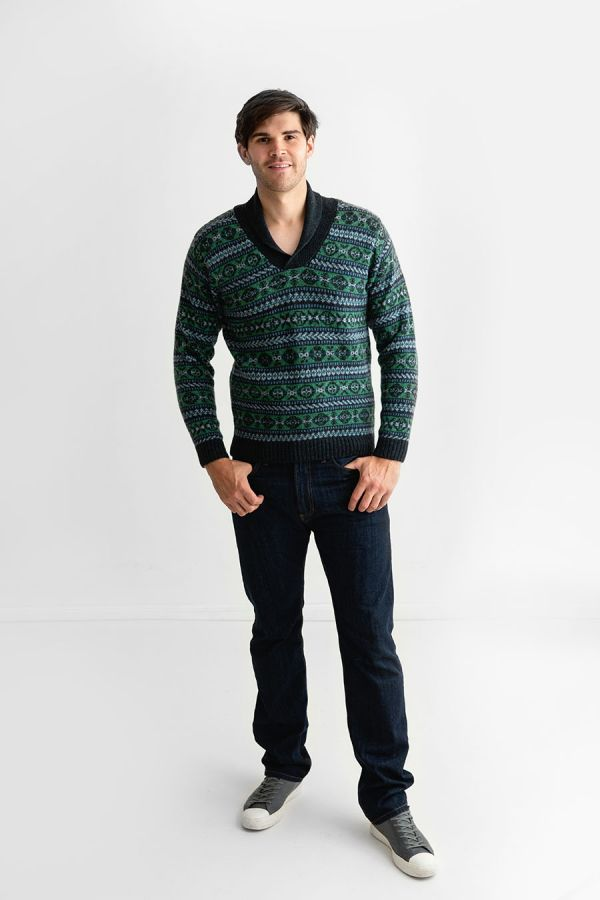 mens green blue wool fair isle jumper sweater shawl collar Lerwick