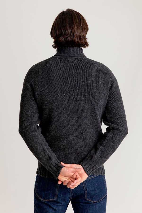 Mens charcoal grey chunky wool polo neck jumper sweater