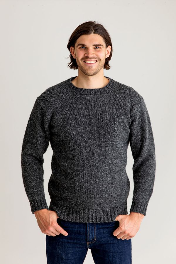 mens mid grey crew round neck jumper sweater chunky scottish wool