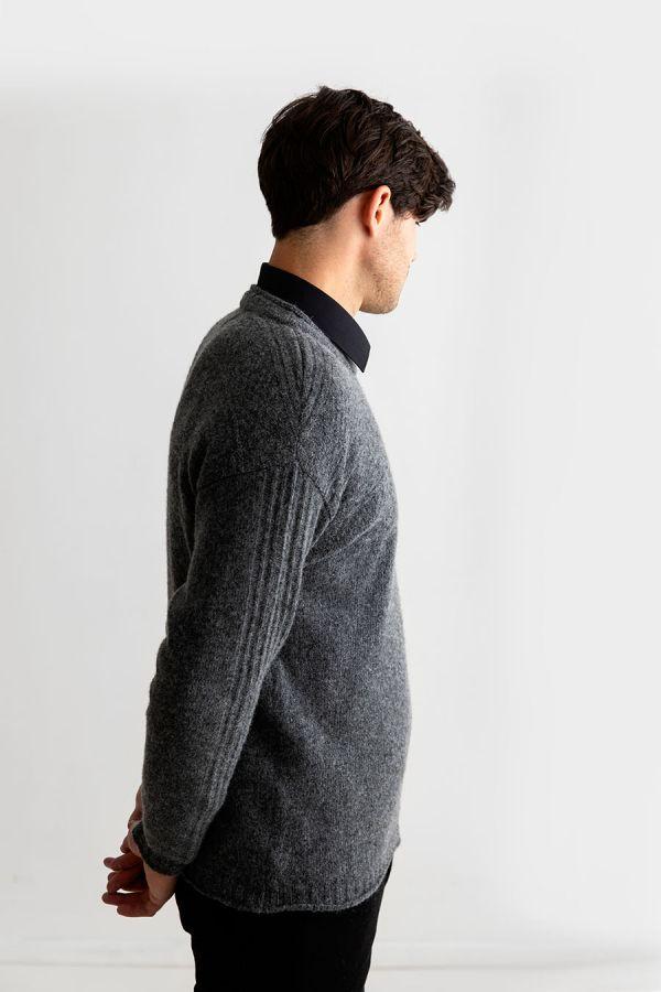 Mens guernsey jumper sweater grey shetland wool