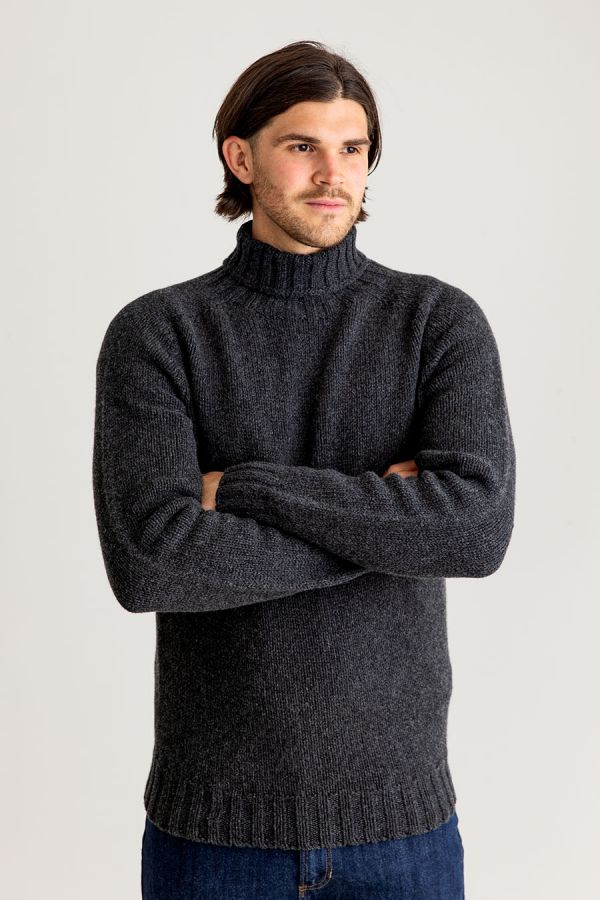 Mens grey polo neck jumper sweater chunky lambs wool geelong turtle charcoal