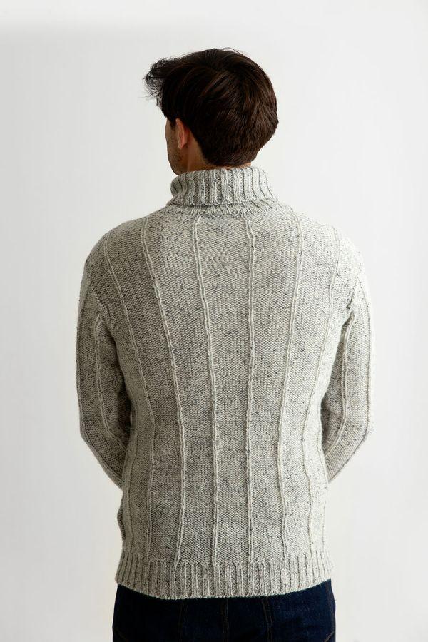 mens grey scottish wool polo neck jumper sweater back