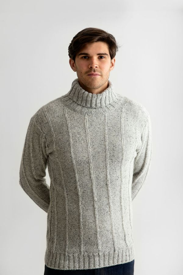 mens grey scottish wool polo turtle neck jumper sweater needle ribbed