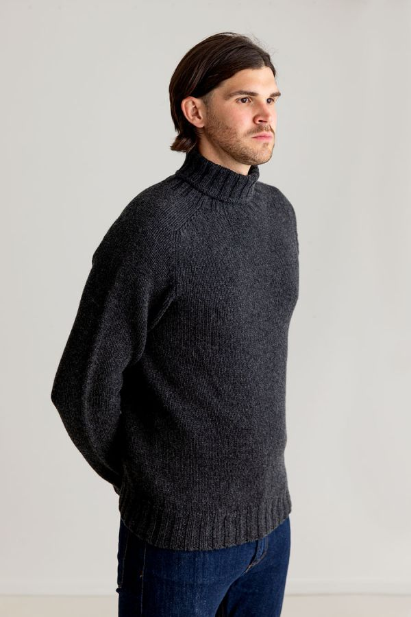 Mens grey turtle neck sweater lambs wool scottish chunky geelong charcoal