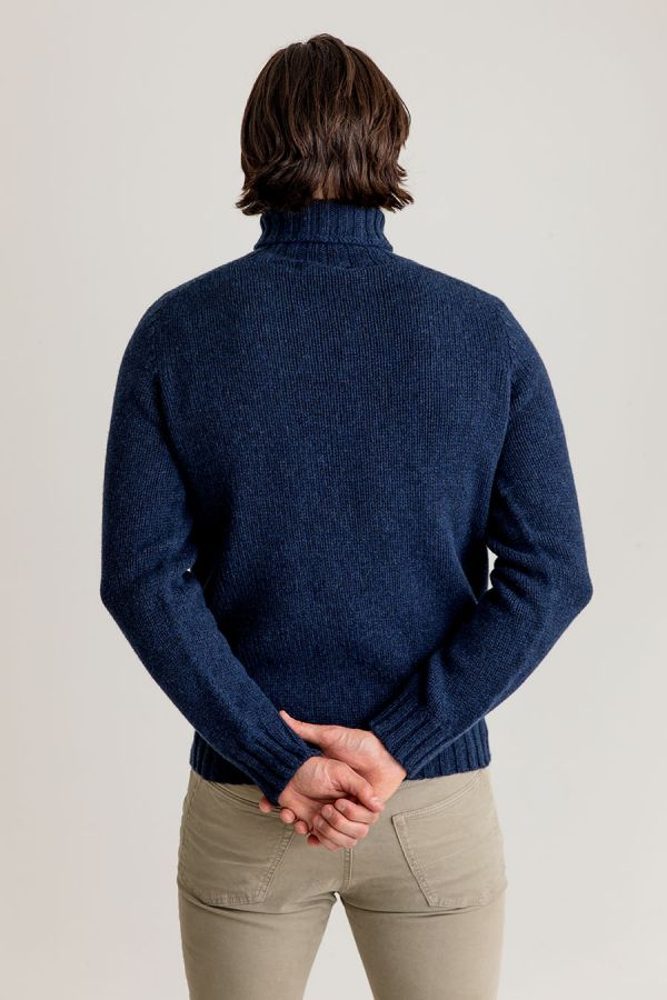 mens lambs wool navy blue polo neck jumper turtle neck sweater