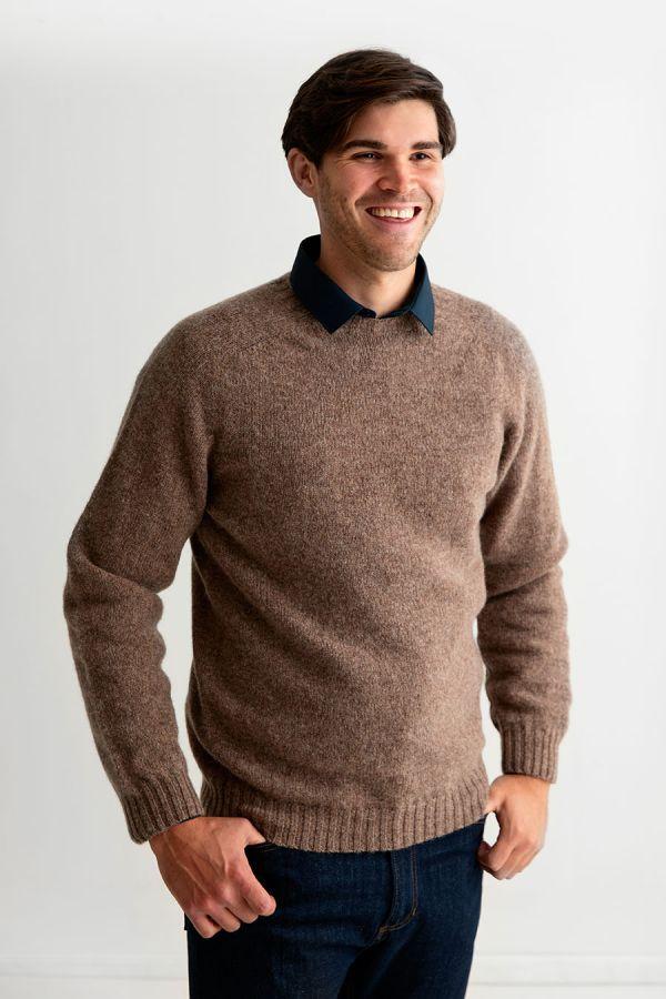 mens light brown shetland wool jumper sweater saddle shoulder nutmeg