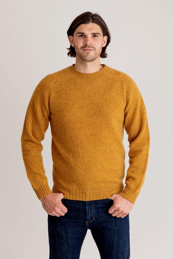 mens mustard yellow shetland wool jumper sweater crew neck saddle shoulder