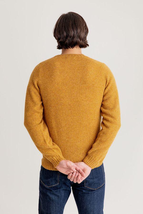 mens mustard yellow shetland wool sweater jumper cummin