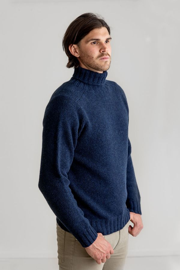 mens navy blue chunky lambs wool turtle neck sweater polo jumper