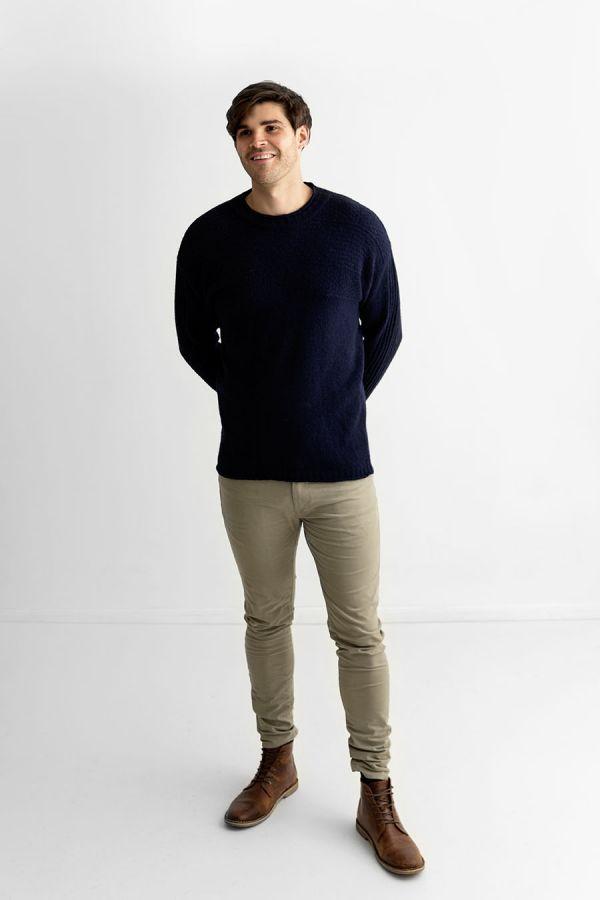 Mens wool gansey guernsey jumper sweater navy blue breakwater