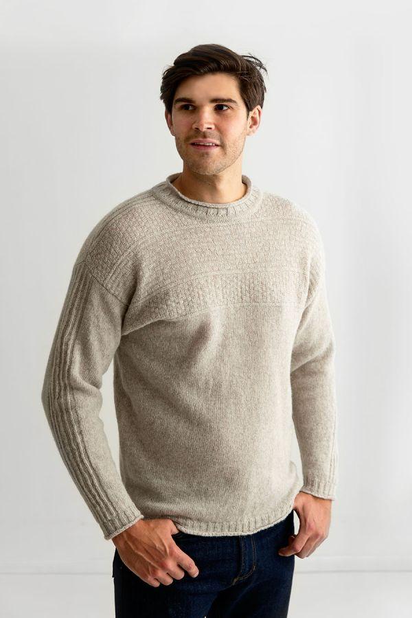 Mens putty beige gansey shetland wool jumper sweater guernsey